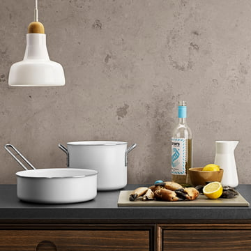 White Line Cooking Pot and Sauté Pan by Eva Trio