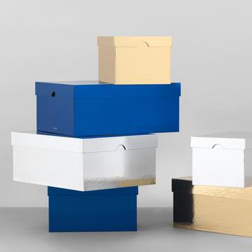 Les Metallic Boxes de Normann Copenhagen en doré / argenté / bleu