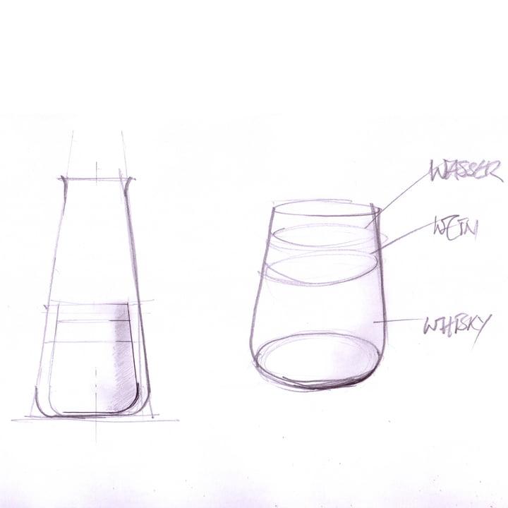 Auerberg - Série en verre - esquisse de tous les verres