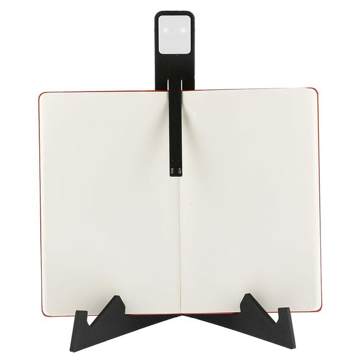 Moleskine - Lampe de lecture LED, noir - sur un livre