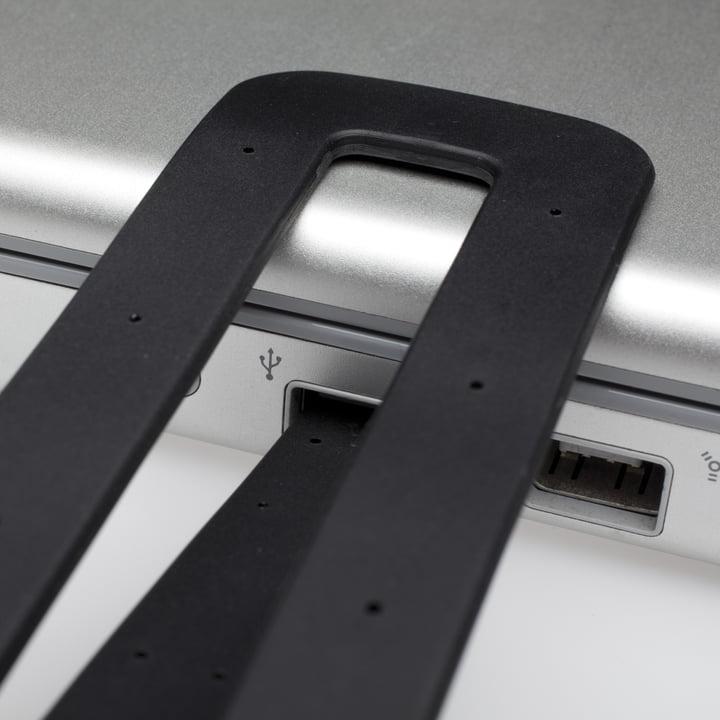 Moleskine - Lampe de lecture LED, noir - détail, connexion USB