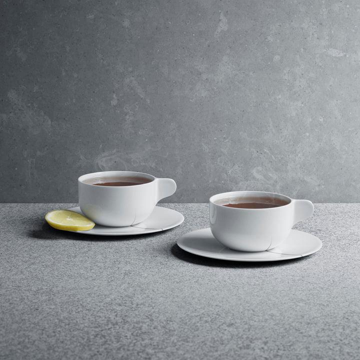 Georg Jensen - Tasses à thé avec soucoupes Tea with Georg en lot de 2