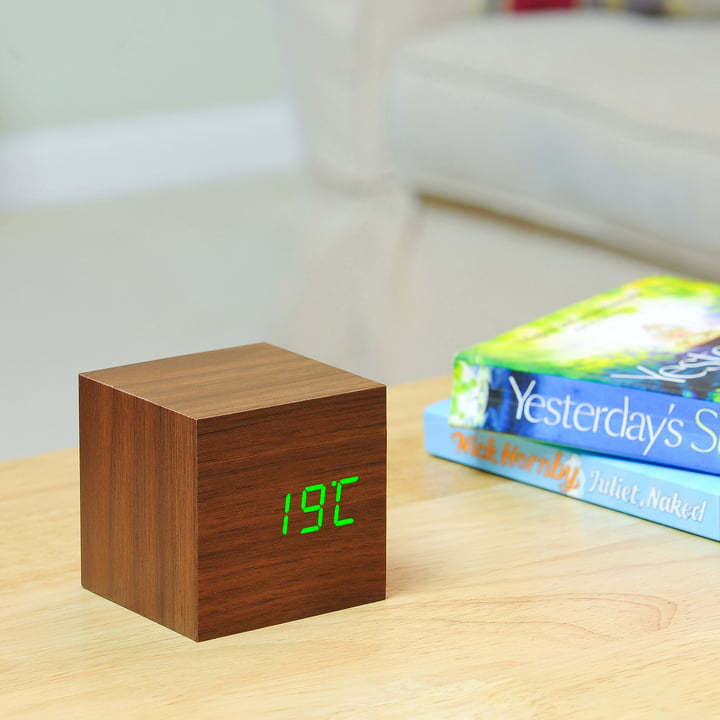 Gingko - Cube, noyer/LED verte