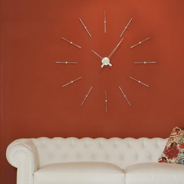 Horloge murale Merlin de nomon avec 12index horaires en chrome et acier
