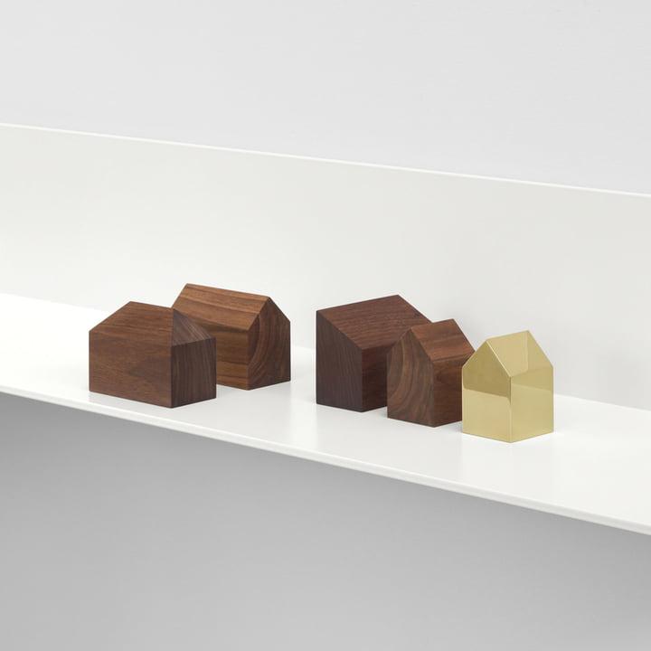 e15 - Presse-papiers AC10 Haus en laiton et en bois