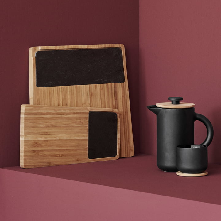 Twin Serving Board, Theo Coffee Maker and Tea Cups with Saucers by Stelton