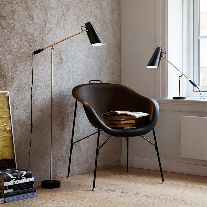 Northern Lighting - Lampadaire et lampe de table Birdy (noir/laiton) en combinaison