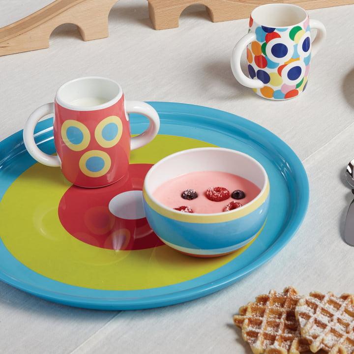 Vaisselle pour enfants Alessini et plateau Con-Centrici par Alessi
