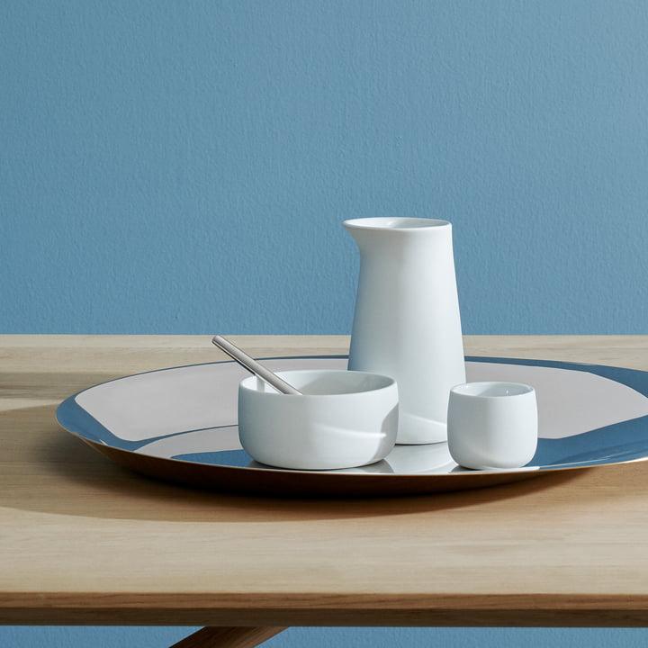 Coupe, petit pot de lait, pot à sucre et mugs isothermes Norman Foster de Stelton