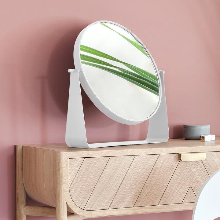 Miroir de table Narcisse de Hartô en blanc