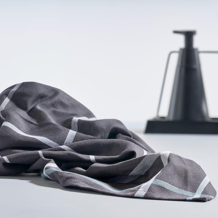 Zone Denmark - Torchon à vaisselle, 70x50cm en gris foncé / blanc et set Dry Art