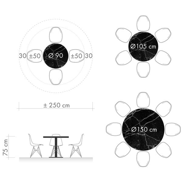 Tables de salle à manger graphique 3 - diamètre de la table ronde
