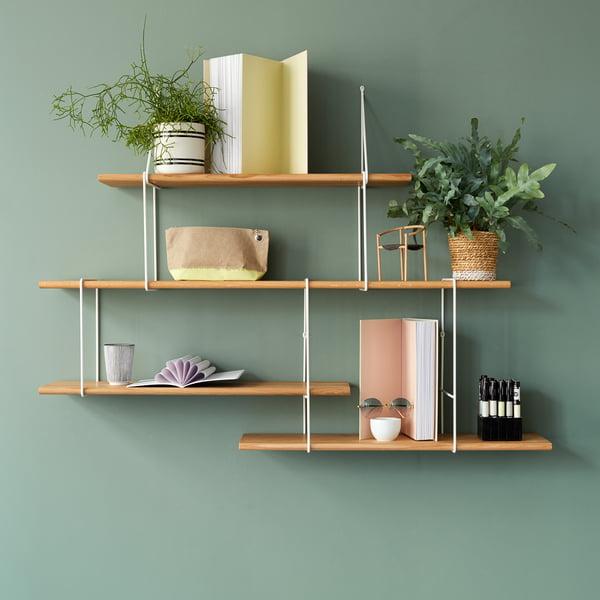 Système d'étagères Link de Studio Hausen en chêne naturel / blanc